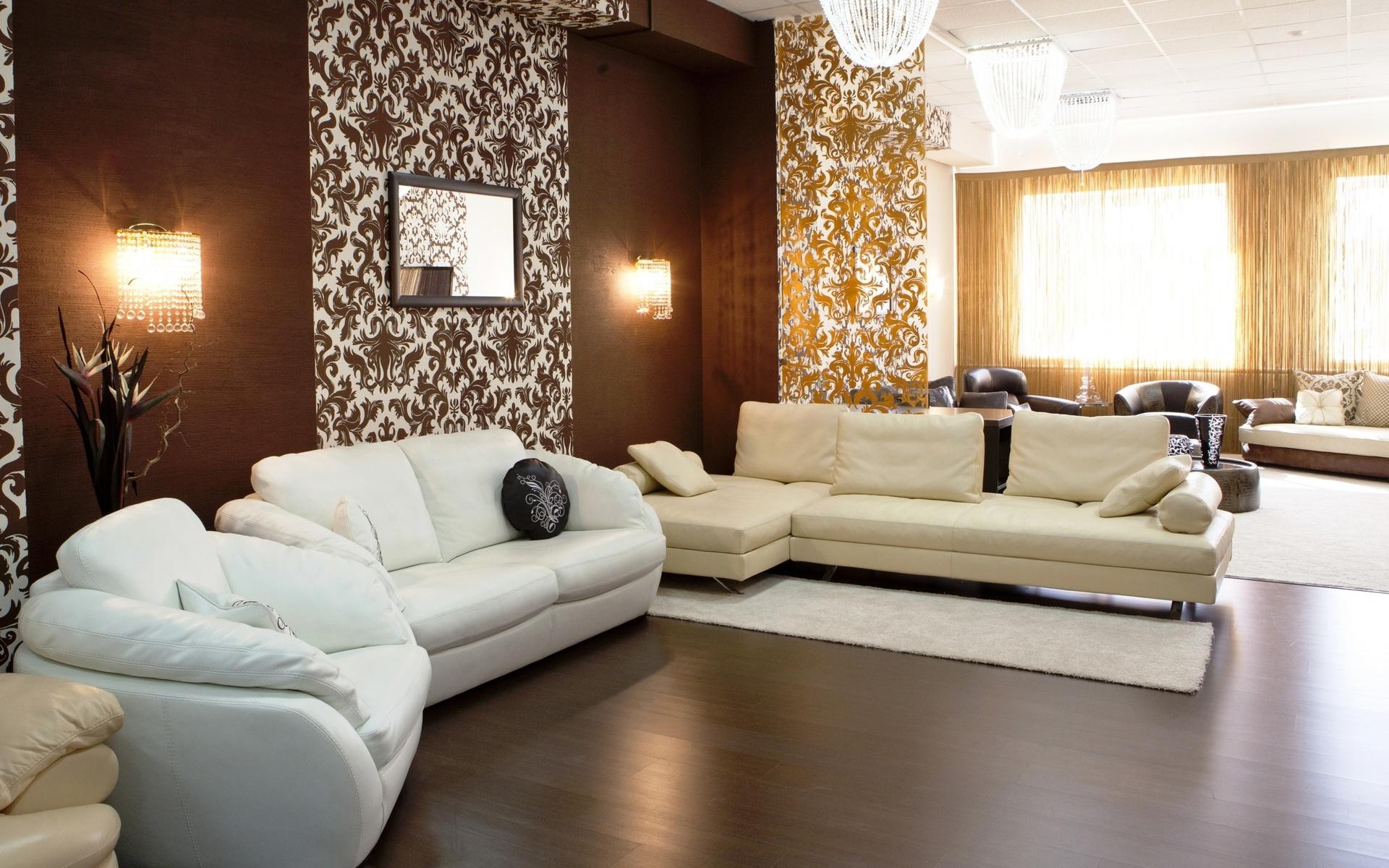 Обои в интерьере гостиной — 50 фото вариантов для дизайна