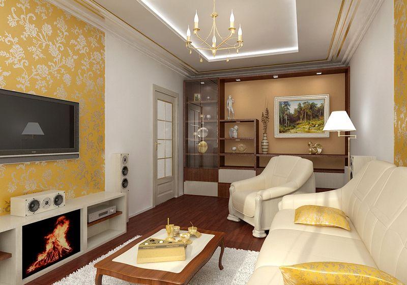 Интерьеры маленьких комнат с камином