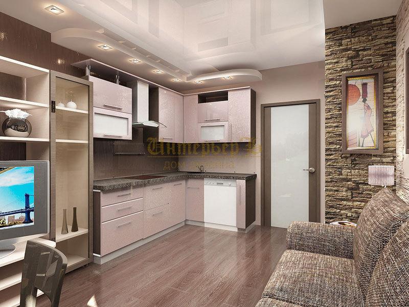 кухня-гостиная дизайн фото 24 кв.м