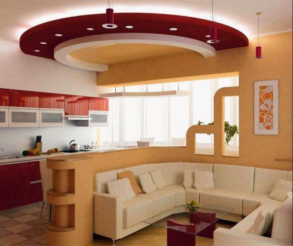 Гухня-гостиная в кремовых тонах