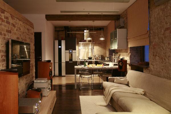 Кухня-гостиная лофт