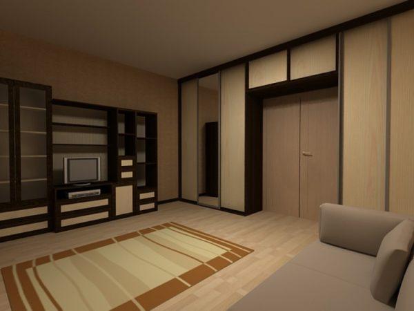 Шкаф-стенка в сером интерьере