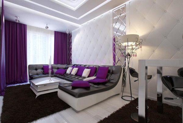 Сиреневый цвет в интерьере гостиной (50 фото)