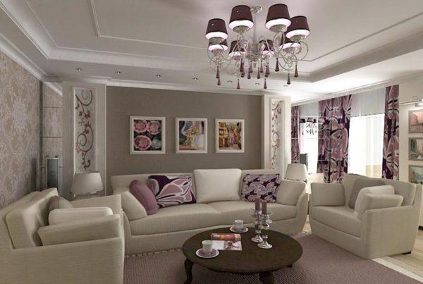Фиолетовый цвет в светлой гостиной