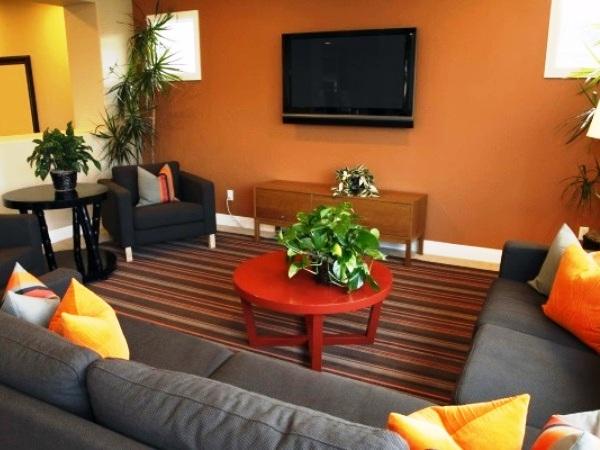 Оранжевый тон в гостиной