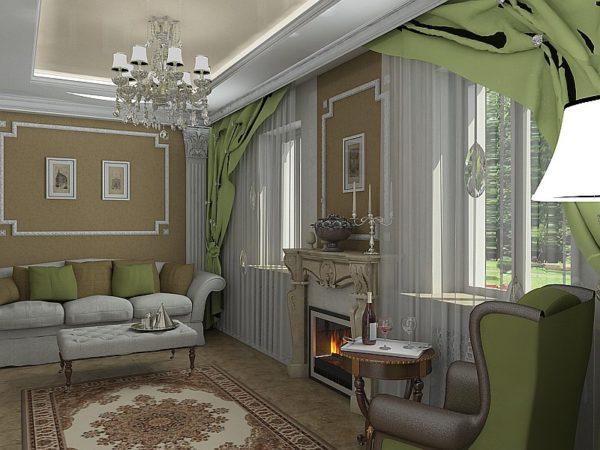 Классический стиль в гостиной 18 кв.м