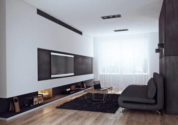Чёрно-белый зал в минимализме