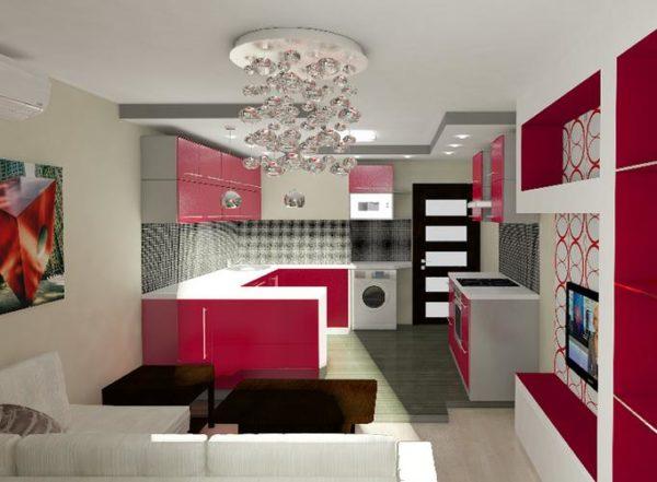 Красный цвет в кухни-гостиной 13 кв.м