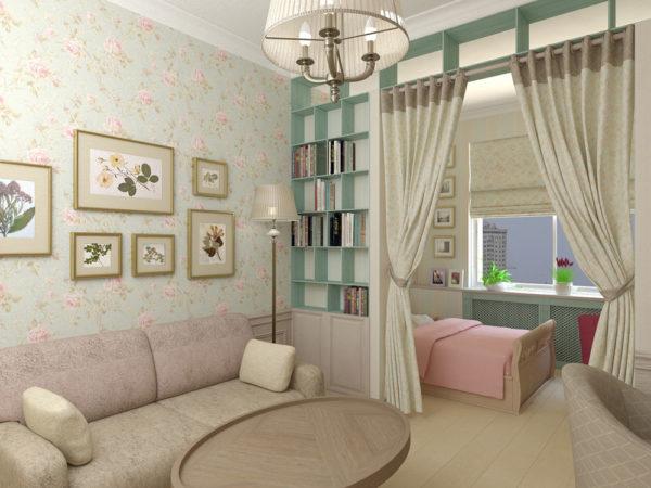 Фото зонирования небольшой комнаты