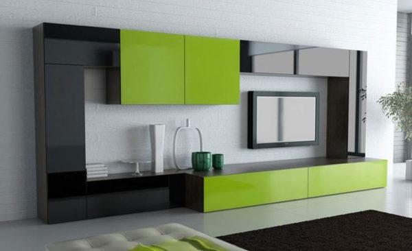 Современная зелёная стенка в гостиной