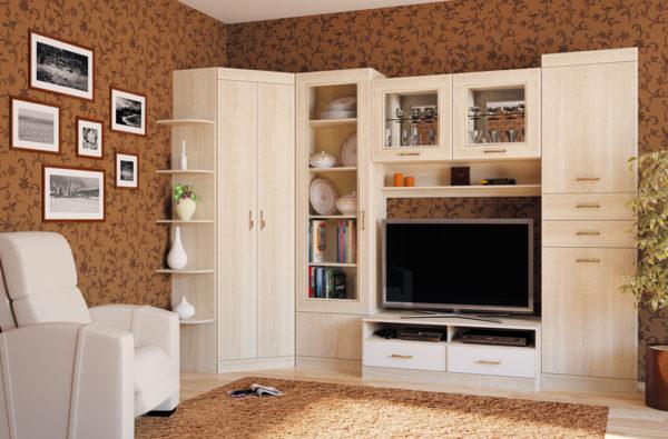 Угловая стенка в гостиной фото