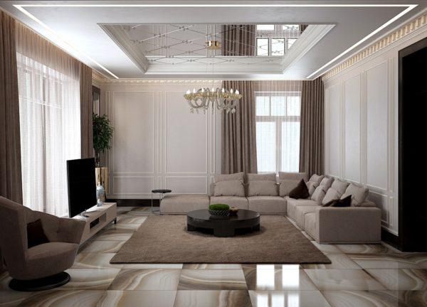Современая гостиная с зеркальным потолком