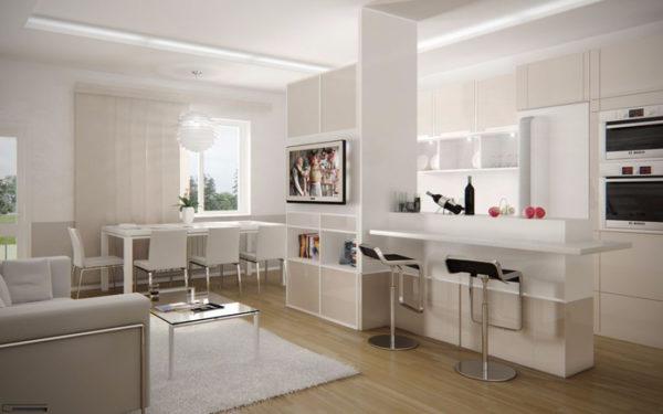 Белая столовая-гостиная