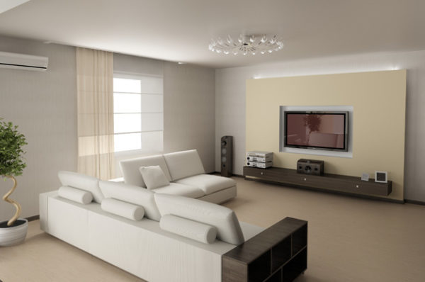 Светлая гостиная в стиле хай-тек