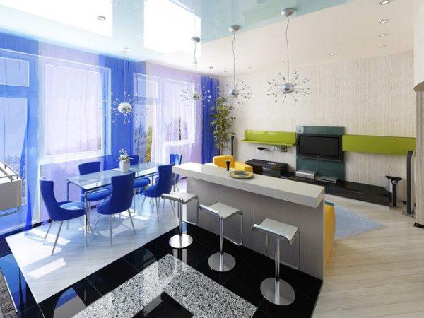 Синий и зелёный цвета в интерьере кухни-гостиной