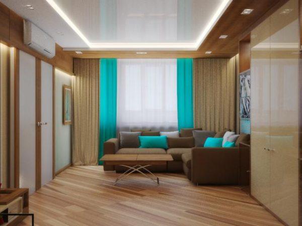 Голубые подушки в интерьере гостиной фото