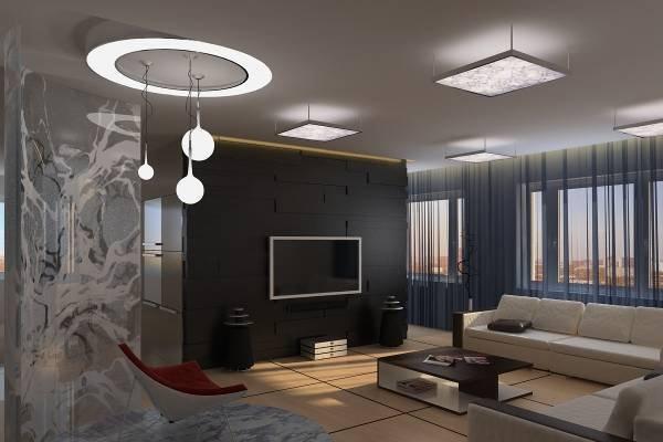 Тёмная гостиная с хорошим осветлением