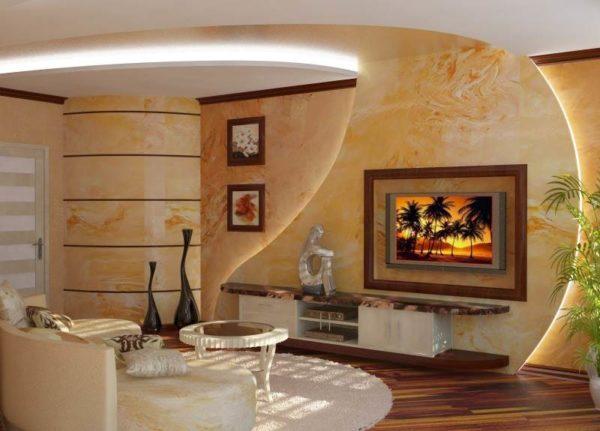 Дизайн гостиной с декоративной штукатуркой фото
