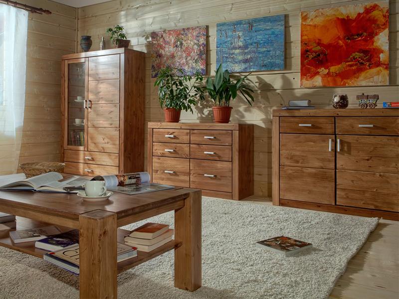 Гостиная из массива дерева от производителя в современном стиле