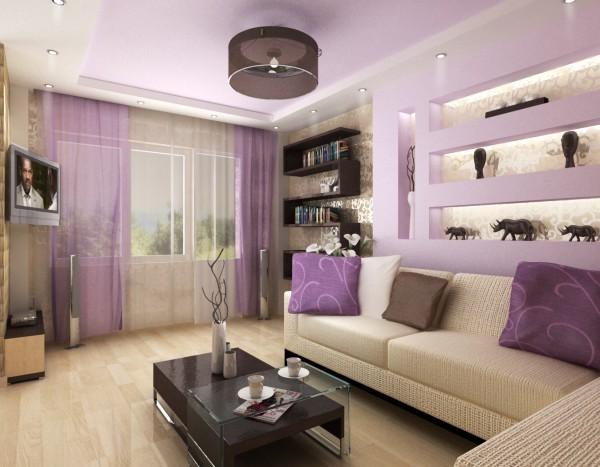 Серый и сиреневый цвет в зале