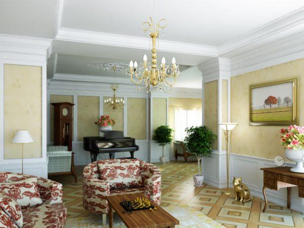 Классическая гостиная с высокими потолками