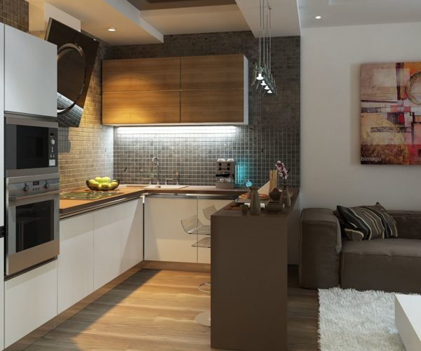 Фото кухня, совмещённая с гостиной