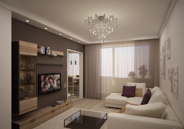 Дизайн гостиной в светло-коричневых и молочных тонах