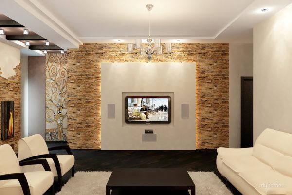 Искусственный камень на стене в зале