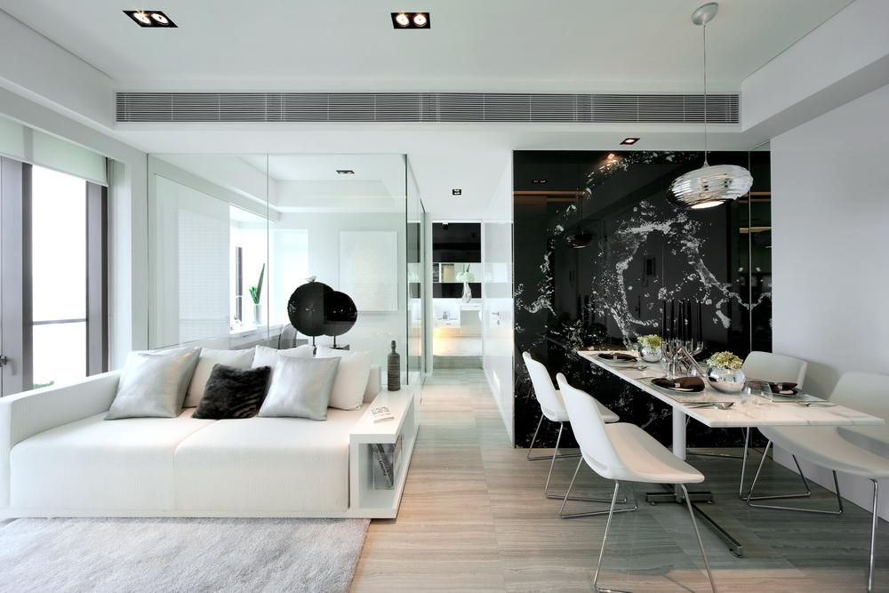 1Minimalist Interior Design in Black and White from Beige Design- Minimalista nappali belsőépítészet fehéren feketén