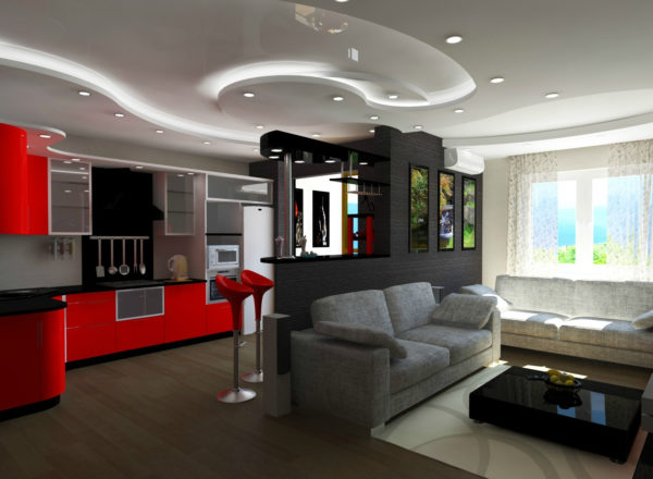 Красная кухня, серый диван