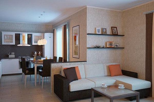 Светлая мебель в светлом интерьере гостиной-кухни