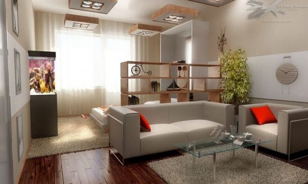 Угловой диван в спальне-гостиной
