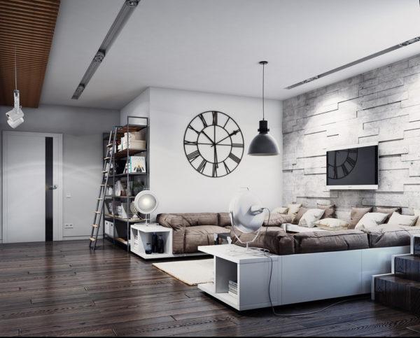 Корпусная мебель для гостиной в стиле лофт