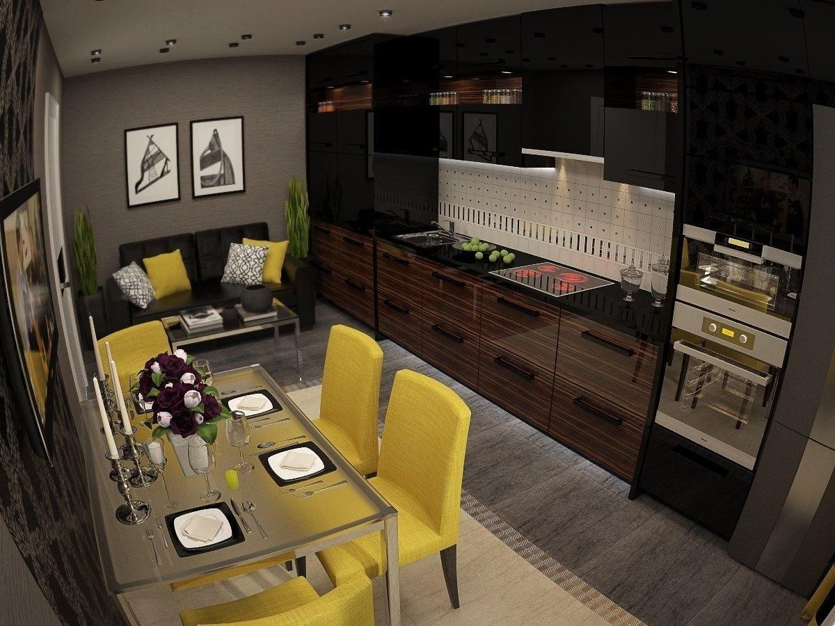 Дизайн кухни гостиной 13 кв м — фото интерьеров