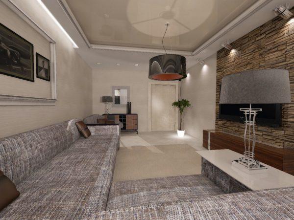 Большая зона отдыха в гостиной 18 кв.м