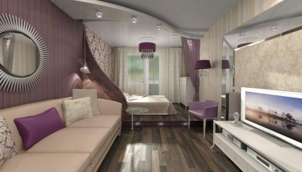 Подиум в интерьере гостиной-спальни