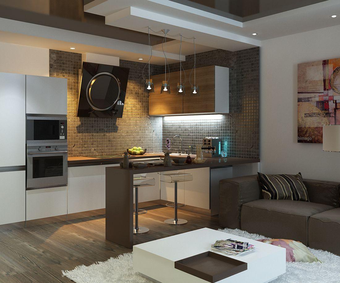 Дизайн кухня-гостиная 25 кв.м