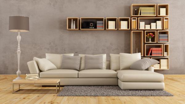 Бежевый диван и серые стены фото
