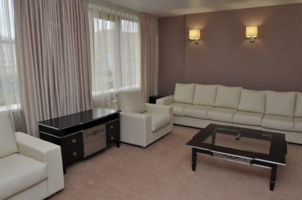 Мебель в гостиной с двумя окнами