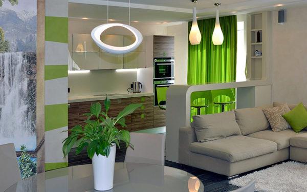 Кухня-гостиная с зелёными шторами