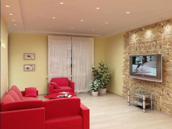 Красная мебель в дизайне гостиной