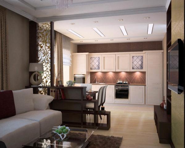 Светлый диван и свелый кухонный гарнитур