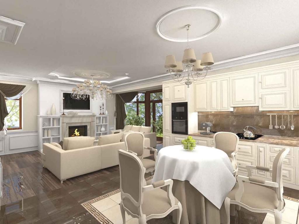 Дизайн кухни с гостиной в частном доме в классическом стиле