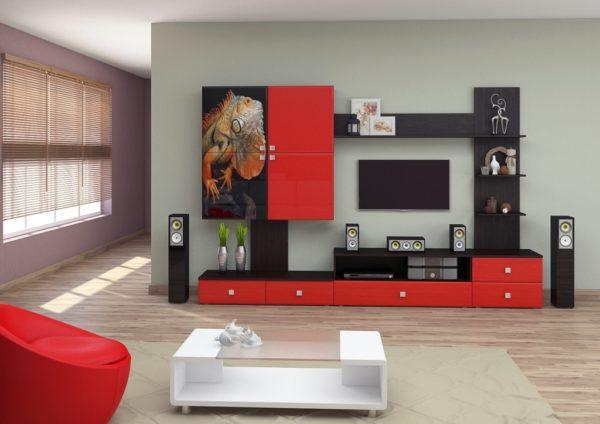 Красно-чёрная стенка с рисунком