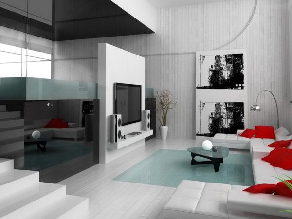 Красные подушки в гостиной