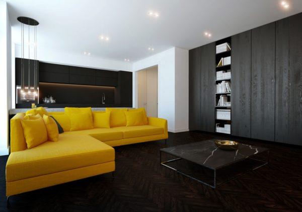 Жёлтый диван в чёрной гостиной