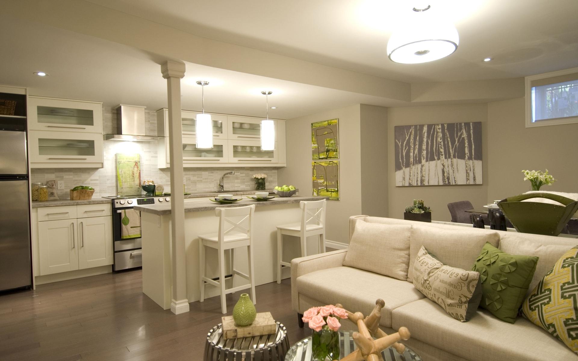 Дизайн кухни и гостиной в одной комнате — разделение на зоны
