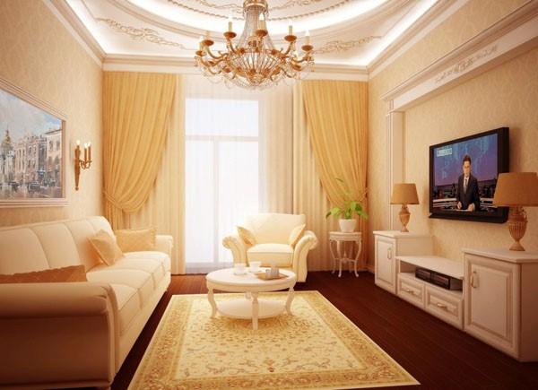 Классический стиль в небольшой гостиной