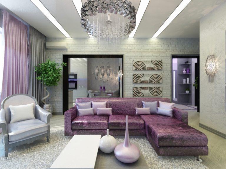 Дизайн гостиной в серо сиреневых тонах