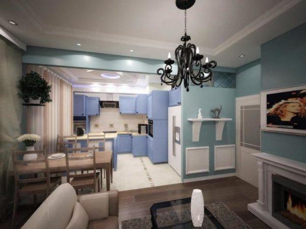 Голубая гостиная-кухня